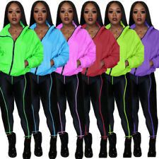 New Stylish Women's Long Sleeves Solid Color Zipper Bodycon Long Jumpsuit 2pcs