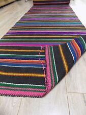 Vtg Interesting Colorful Wool&Flax Rug Runner 8,1x0,66m 1960s Ukraine Never Used