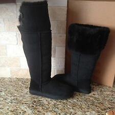 UGG Bailey Button Over The Knee Black Suede/Sheepskin Boots US 9 Womens 1007536