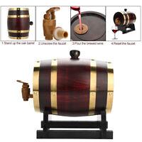 1.5L Vintage Oak Barrel Timber Wine Barrel For Beer Whiskey Rum Port W/Stand US