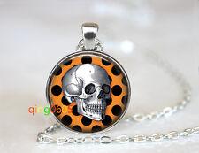 Skull Dia De La Muerte glass dome Tibet silver Chain Pendant Necklace wholesale