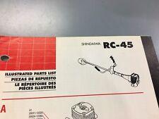 shindaiwa rc 45 illustrated parts list,Ipl