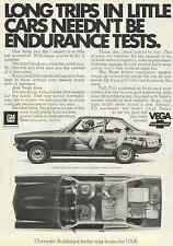 CHEVROLET VEGA 1972 VINTAGE MAGAZINE AD  INV#165