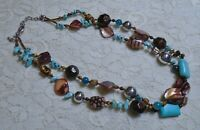VINTAGE MULTI STRAND SHELL TURQUOISE & GLASS BEADED BOHO NECKLACE 21 INCH