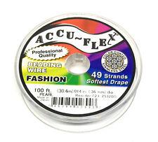100' Accu-Flex pearl jewelry beading wire 49 strand .014 inch Accuflex