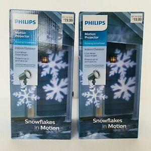 (2) Philips Motion Projector - Rotating Snowflakes COOL WHITE/SUPER BRIGHT Xmas
