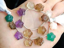 90ctw Green Amethyst Crystal Green Onyx Smoky Quartz Pink Opal Flower Beads