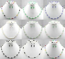 2019 Natural Jade Agate  Sterling Silver Fortune Necklace Earrings Bracelet Set