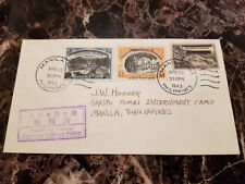 1943 Manila Philippines Cover to Santo Tomas Internment Camp JW Hoover