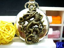 Antique Bronze carved Dragon charm bright silver steampunk pocket watch necklace