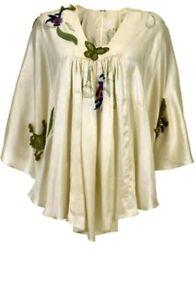 Kate Moss For Topshop Rare Applique Cream Silk Cape Top Kimono Brand New UK 6