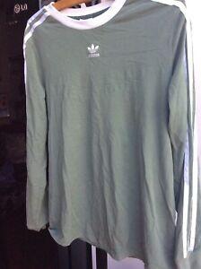 Ladies Olive Green Adidas Three Stripe Long Sleeve Top Size 14