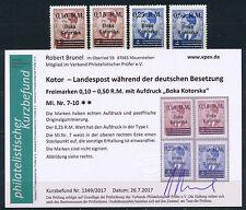Besetzung Kotor Aufdruckserie 1944** Michel 7-10 Befund (S14462)