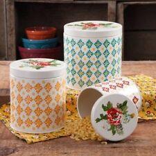 The Pioneer Woman 3-Piece Canister Vintage Geo Set Kitchenware Jars Storage Sets