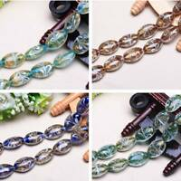 5pcs 24x18mm Oval Lampwork Crystal Glass Loose Spacer Beads Jewelry Findings