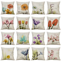 Wash Painting Flower Pillow Case Cotton Linen Throw Home Decor Cushion Cover