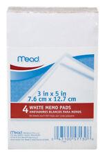 4 Pack Mead White Memo Pad 3 X 5 50 Sheets Each Pad Fast Free Ship