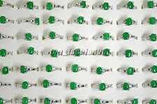 FREE wholesale lots 10pcs Green Natural Agate Gemstone stone silver P Rings
