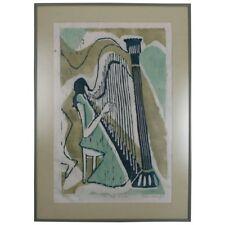 "Mid-Century Modern Artist Proof Wood Block ""She Plays, I Listen"" by B. Woodruff"