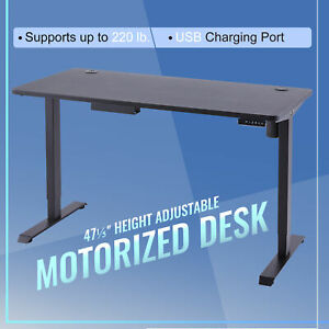 120CM Adjustable Height Computer Office Desk W/USB Sitting & Standing Home Table