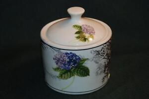 American Atelier HYDRANGIA TOILE Stoneware Sugar Bowl - EUC