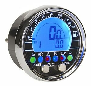 Acewell 2853 Chrome Digital Speedometer Tacho Speedo Motorbike Cruiser Chopper