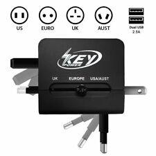 Travel Adapter Plug All in one US to EU Europe AU UK AC Power World w/ Dual USB