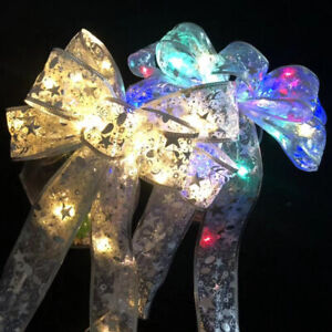 Christmas LED Tree Top Topper Ribbon Bow Light Up Bow Xmas Hanging Decorations