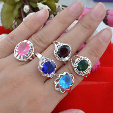5pcs wholesale Jewelry  925 silver Multicolor zircon Mixed size rings N-143