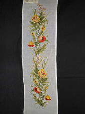Vtg PreWorked YELLOW ROSES Needlepoint Canvas Table Runner Floral Petit Point