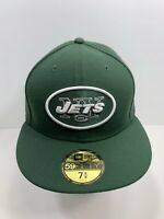 "New Era 59FIFTY Green New York Jets 7 5/8"" Fitted Flat Bill Cap, NEW!"