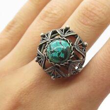 Reuven Vtg Israel 925 Sterling Silver Real Eilat Gemstone Handmade Ring Size 7