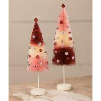 """Bethany Lowe Bottle Brush Trees 9.5""""-11"""" Red Pink Ball Ornaments Set of 2"""