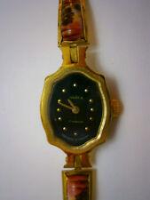 Vintage Women's Mechanical Wrist Watch Enamel Finift Чайка Seagull Gold Plated