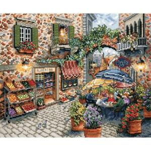 """Design Works Counted Cross Stitch Kit Sidewalk Cafe 11"""" X 13"""" NEW 14 Count"""
