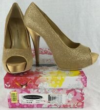 """Chinese Laundry """"Hey There"""" Womens Honey Glitter Gold 5"""" High Heel Shoes Sz 10 M"""