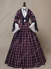 Victorian Dickens Christmas Caroler Dress Plaid Gown Theatrical Costume 158 L