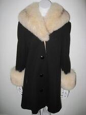 Vintage LILLI ANN KNIT Black Coat Fox Fur Collar and Cuffs