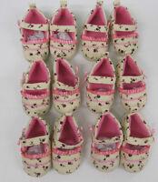 Baby shoes pink girls pink cream velvet  3 month pram job lot 6 pair wholesale