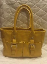 AUDREY BROOKE Yellow Genuine LEATHER Hand BAG Purse Tote Satchel