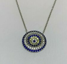 Handmade Turkish Pendant with Blue CZ stones Sterling Silver