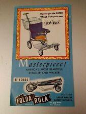 Vintage Folda Rola Mid-Century Baby Stroller Walker Brochure Product Pamphlet