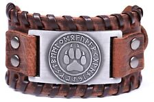 Viking Wolf Bear Paw Norse Runes Leather Bracelet for Men Adjustable Bangle
