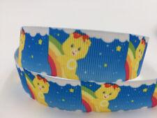 DIY 5 Yard 1'' 25mm Rainbow Bear Printed Grosgrain Craft Hair Bow Sewing Ribbon