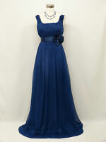 Cherlone Plus Size Chiffon Blue Ballgown Wedding Evening Bridesmaid Dress 16-18