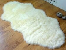 PLAIN SOFT FLUFFY SHEEPSKIN STYLE FAUX FUR BEDROOM RUGS 70 X 140CM WASHABLE