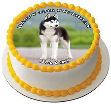 HUSKY DOG 7.5 PREMIUM Edible RICE WAFER Cake Topper CAN PERSONALISE SIBERIAN D1