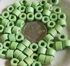 12 Czech Ceramic 5mm Mint Green Tile Beads