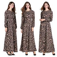 Dubai Arab Leopard Print Maxi Long Dress Women Muslim Tunic Kaftan Vintage Gown