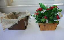 VINTAGE FRENCH GLASS SEED BEADS RED STRAWBERRIES & WHITE FLOWERS IN BASKET